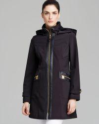 Via Spiga Coat Faux Leather Trim Soft Shell Hooded - Lyst