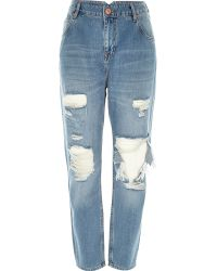 River Island Mid Wash Ripped Slim Mom Jeans blue - Lyst