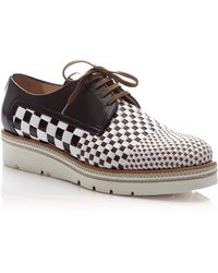 Pertini Woven Laceup Leather Loafers - Lyst