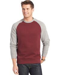 Izod Two-Tone Raglan Sueded-Fleece Sweater - Lyst