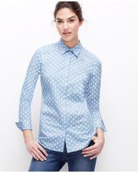 Ann Taylor Petite Polka Dot Perfect Shirt - Lyst