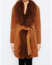 Oasis | Mongolian Trim Real Suede Leather Coat | Lyst