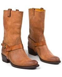Ralph Lauren Leather Biker Boots - Lyst