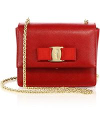 Ferragamo | Ginny Mini Square Saffiano Leather Crossbody Bag | Lyst