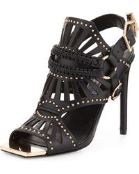 Ivy Kirzhner - Valentin Golden-studded Leather Stiletto Sandal - Lyst