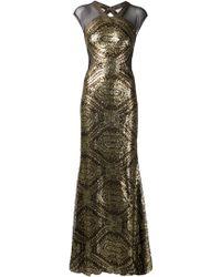 Badgley Mischka Sequined Sheer Panel Dress - Lyst