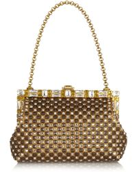 Dolce & Gabbana Vanda Swarovski Crystal-Embellished Metallic Leather Clutch - Lyst