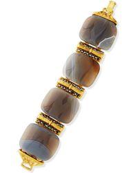 Jose & Maria Barrera 24K Gold Plated Gray Stone Bracelet - Lyst
