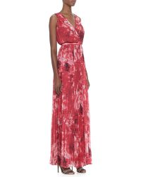 Halston Heritage Printed Pleated Chiffon Gown - Lyst