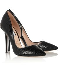 Lucy Choi London Soho Croceffect Leather and Perspex Pumps - Lyst