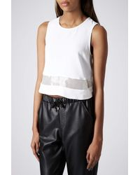 Topshop Organza Panel Shell Top - Lyst