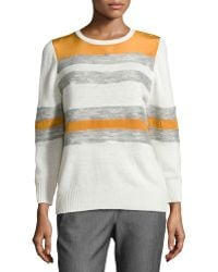 Halston Heritage Mixed Stripe Crewneck Combo Sweater - Lyst