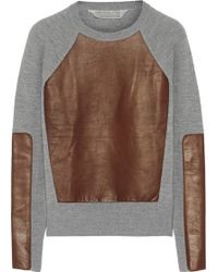 Reed Krakoff Leatherpaneled Cashmere Wool and Silkblend Sweater - Lyst