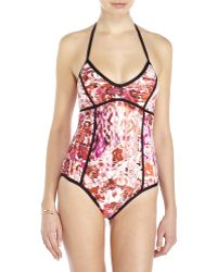 Ivanka Trump - Floral Halter Piped One-Piece Swimsuit - Lyst