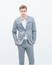 Zara Patterned Weave Wool Blazer - Lyst