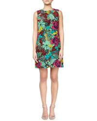 M Missoni Jungle Rose Silk Shift Dress - Lyst