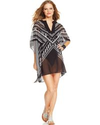 Vince Camuto Printed Highlow Tunic Cover Up - Lyst