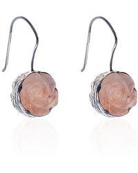 Toosis Rose Carved Pink Jade Earrings - Lyst