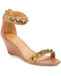 Ash Diva Pyramid Studded Leather Wedge Sandals - Lyst