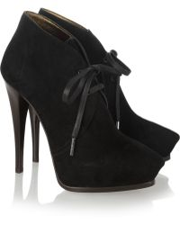Lanvin Suede Laceup Ankle Boots - Lyst