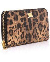 Dolce & Gabbana Leopard Print Leather Wallet - Lyst