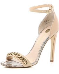 River Island Pink Chain Front Barely There Sandals - Lyst
