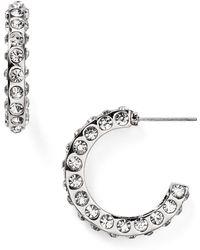 T Tahari - Pavé Hoop Earrings - Lyst