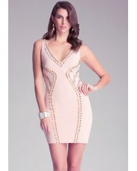 Bebe Multi-Stud Ponte Dress - Lyst