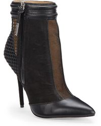 L.A.M.B. - Sloan Mesh Panel Leather Ankle Boots - Lyst