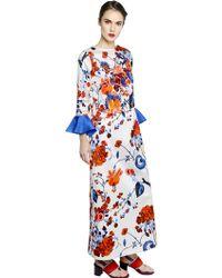 Antonio Marras Embellished Printed Cotton Satin Dress - Lyst