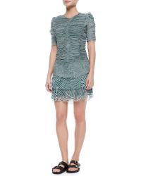 Etoile Isabel Marant Damia Ripple-Print Ruched Tiered Mini Dress - Lyst