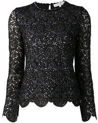 Carolina Herrera Black Lace Top - Lyst