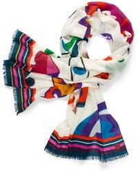 Tory Burch Luck Charm Printed Scarf - Lyst