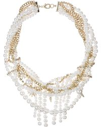 """Sam Edelman - Faux Pearl and Chain Statement Necklace, 16"""" - Lyst"""