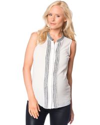 French connection Maternity Sleeveless Embroidered Blouse - Lyst