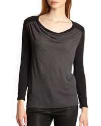 James Perse Contrast Sleeved Draped Jersey Top - Lyst