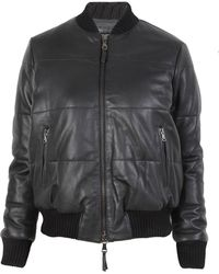 Lot78 Black Padded Bomber - Lyst