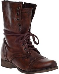 Steve Madden Troopa Lace-Up Boot Brown Leather brown - Lyst