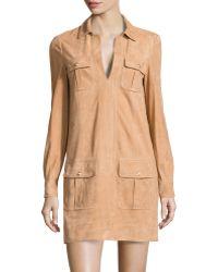 Diane von Furstenberg Suede Flap-pocket Shirtdress - Lyst