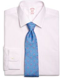 Brooks Brothers Noniron Traditional Fit Alternate Sidewheeler Stripe Dress Shirt - Lyst