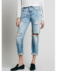 Free People | Levi S Vintage Denim Womens Levi's 505 Customised Boyfriend Destroyed | Lyst