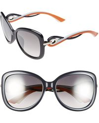 Dior Women'S 'Twisting' Oversized 58Mm Sunglasses - Blue - Lyst