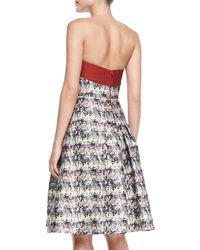 Carolina Herrera Strapless Marbleprint Flare Dress - Lyst