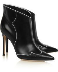 Gianvito Rossi Piped Leather Ankle Boots - Lyst