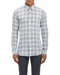 John Varvatos Windowpane Plaid Shirt - Lyst