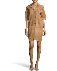 Escada Suede Shirt Dress - Lyst
