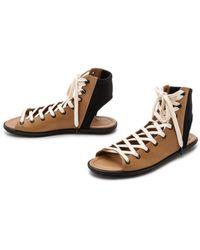 Atelje71 - Fidelio Lace Up Sandals - Camel/black - Lyst