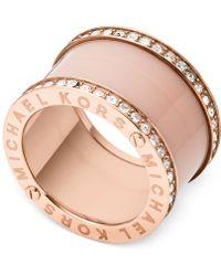 Michael Kors Rose Gold-Tone Barrel Ring - Lyst