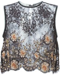 Alessandra Rich | Embellished Lace Panel Top | Lyst