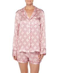 Neiman Marcus - Contrast-trim Long-sleeve Shortie Pajama Set - Lyst